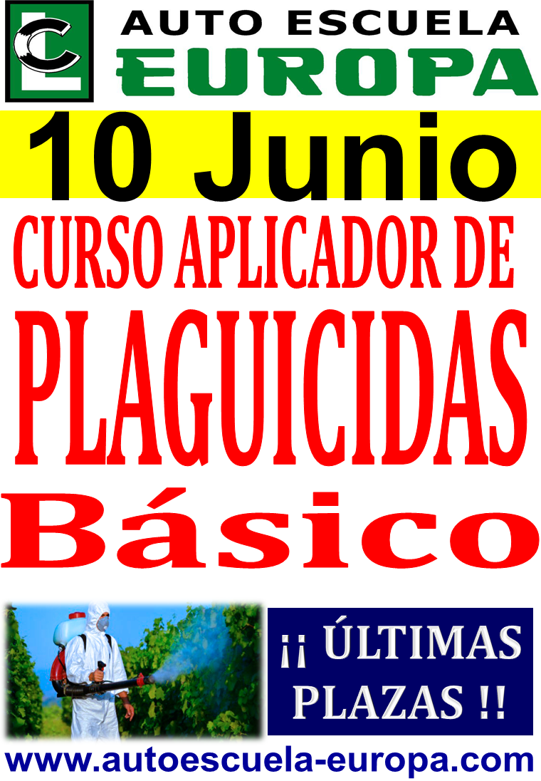 CURSO APLICADOR DE PLAGUICIDAS NIVEL BÁSICO ¡¡ÚLTIMAS PLAZAS!!